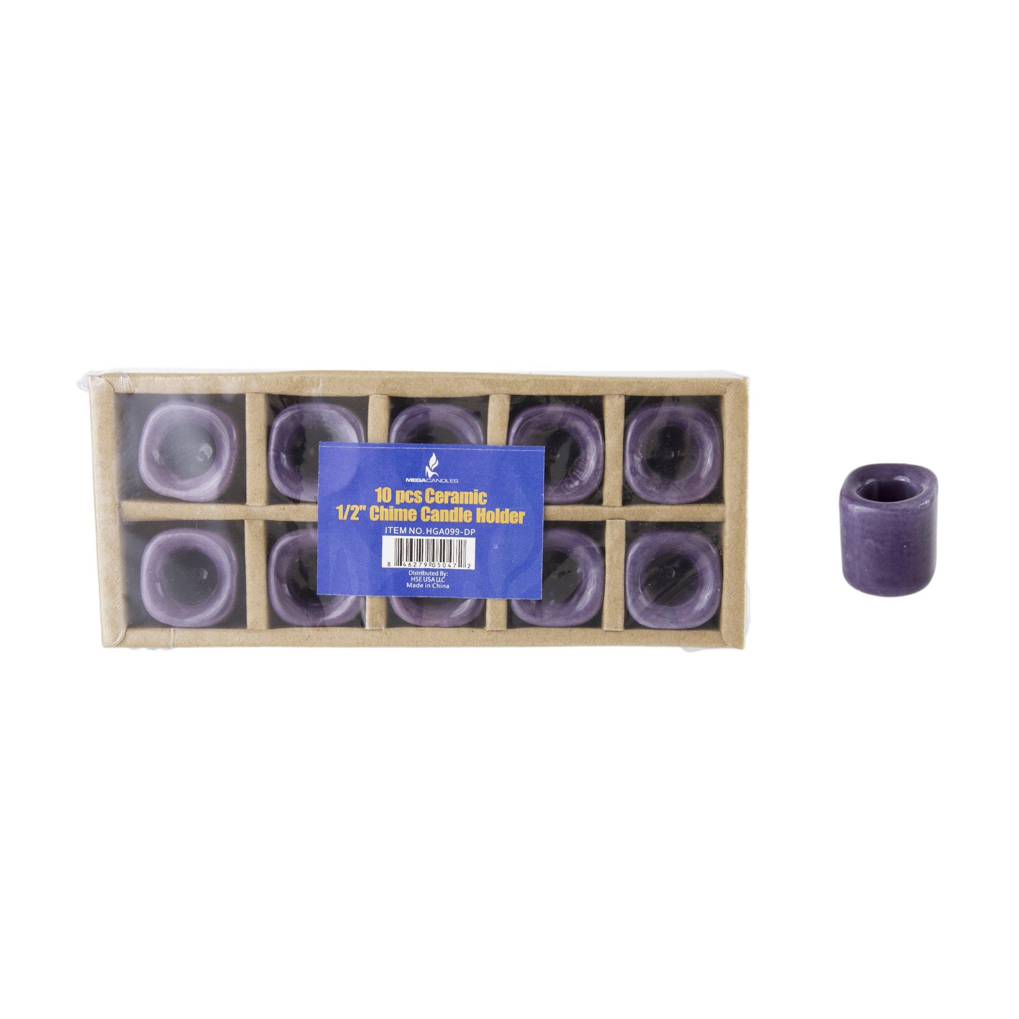 Mega Candles - 10 pcs Ceramic Chime Ritual Spell Candle Holders - Dark Purple