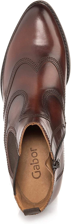 Gabor Shoes Bottines Façon Block pour Femme Comfort, Confortable en Cuir, modèle 31.601/22 Braun Sattel Effekt