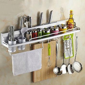 OGORI - Barra de almacenamiento para utensilios de cocina, para pared, con ganchos: Amazon.es: Hogar