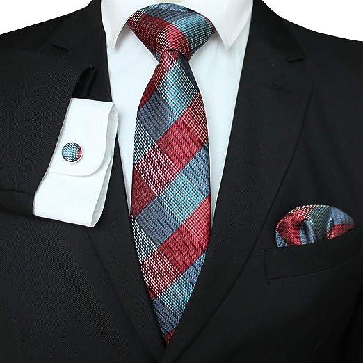 DishyKooker - Corbata de Seda de poliéster para Hombre + pañuelo + ...