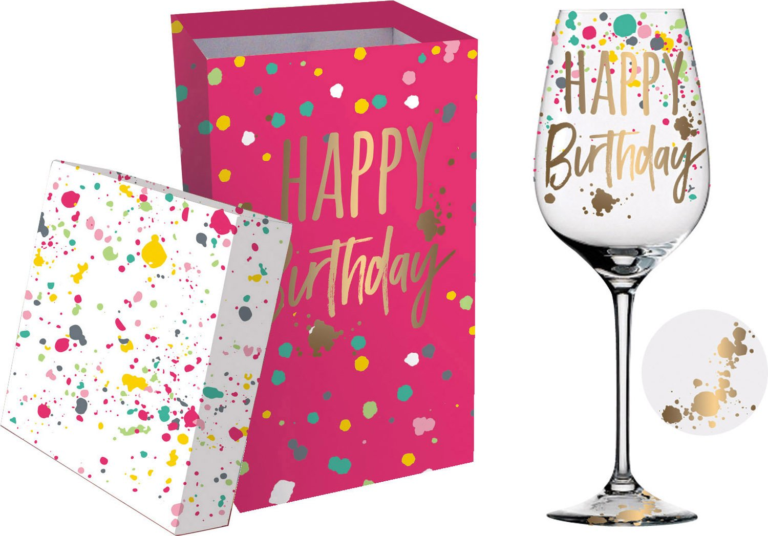 Cypress Home Happy Birthday Wine Glass with Gift Box, 12 ounces