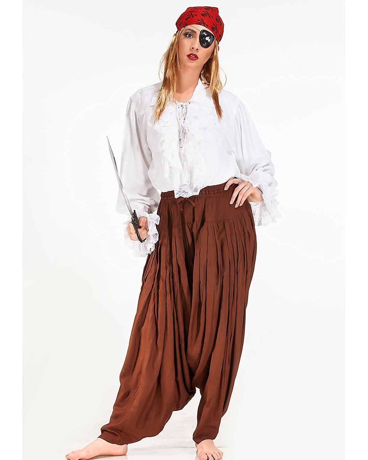Medieval Renaissance Women Pirate's Brown Patiala Costume Pants - DeluxeAdultCostumes.com