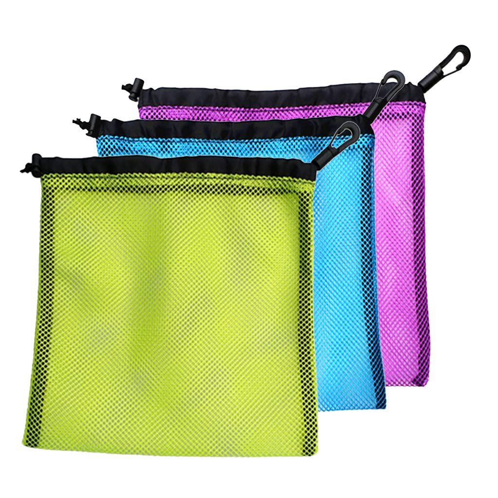 Baosity 3Pcs Durable Nylon Mesh Bag with Drawstring Closure, Large Mesh Bag for Golf Tennis Balls, Gym, Shower, Washing Toys, Swimming, Beach