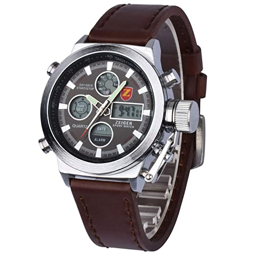 792bf6777a6e Zeiger Mens Watches Alarm Chronograph Stopwatch Multifunction Watch for Men  Analogue and Digital Two Time Zone Man Wristwatch Night Light Date Watch  W219  ...