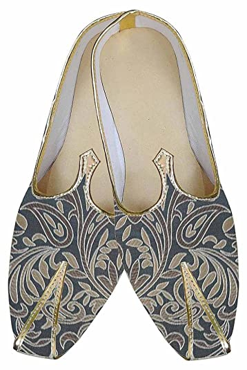 Mens Gray Brocade Indian Wedding Shoes Designer MJ0182