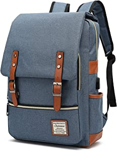 SUPEASE Vintage Laptop Backpack for Women Men, Slim College School Backpack with USB Charging Port Fits for 15.6