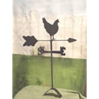 The Lazy Scroll Hen Chicken Roof Mounted Weathervane Black Wrought Iron Look Handcrafted in The USA