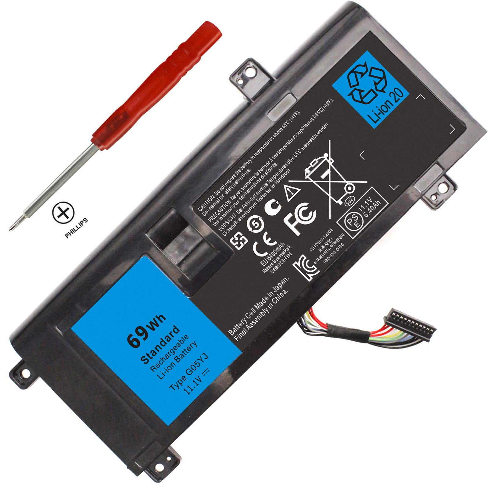 Bateria G05YJ para Dell Alienware 14 A14 M14X R3 R4 14D-1528 ALW14D Y3PN0 8X70T 0G05YJ P39G 11.1V 69Wh 12 !