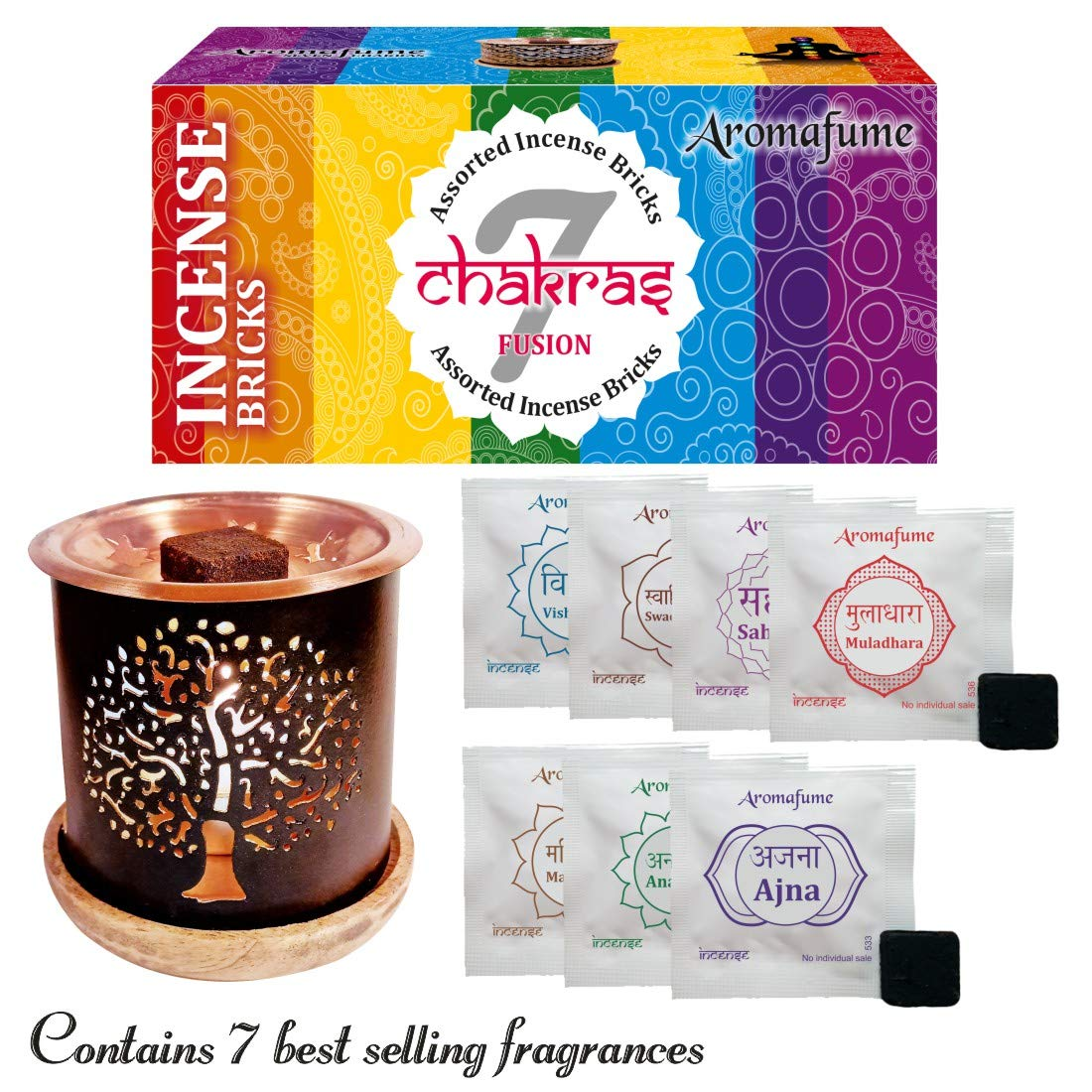 Aromafume 7 Chakra Incense Bricks Starter Kit containing Tree of Life Exotic Incense Diffuser (Gift Set). Ideal for Meditation, Purification, Yoga, Chakra Alignment, Relaxation, Healing & Rituals by Aromafume (Image #2)