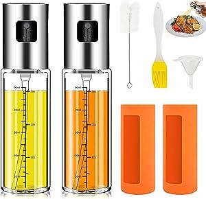 Olive Oil Sprayer for Cooking, Eeenfy 2 Pack Food-Grade Glass Oil Spray Oil Dispenser Mister for BBQ, Baking, Roasting, Grilling, Salad 100ml