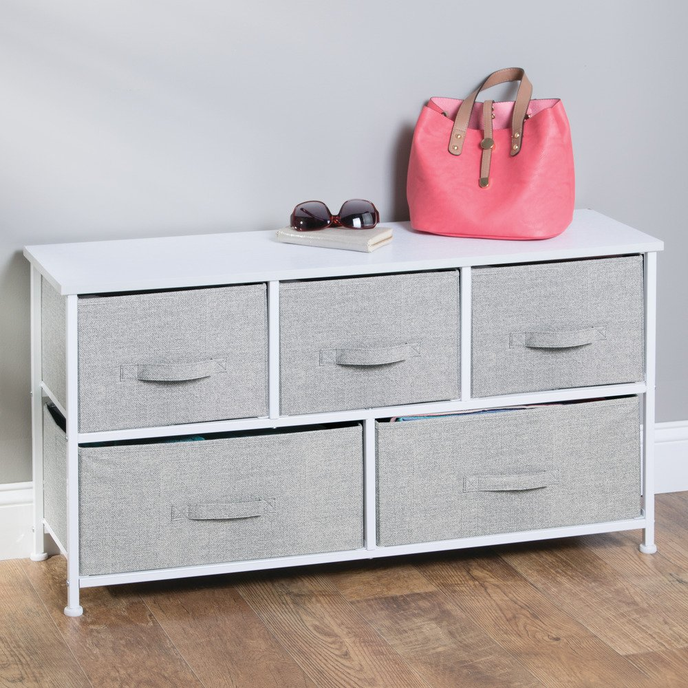 InterDesign Aldo Fabric 5-Drawer Dresser and Storage Organizer Unit for Bedroom, Apartment, Small Living Spaces – Gray by InterDesign (Image #2)