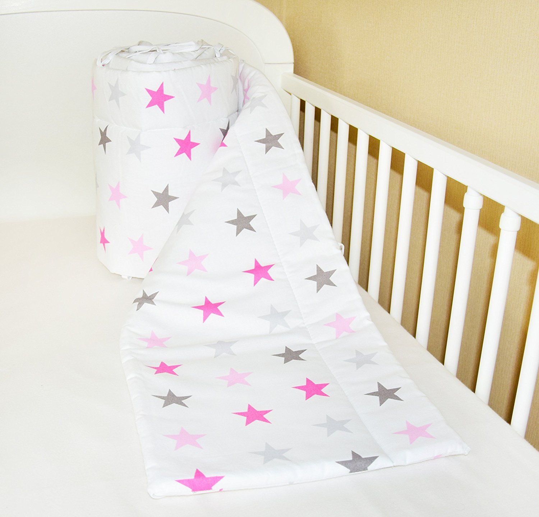 Amilian® Bettumrandung Nest Kopfschutz Nestchen 420x30cm, 360x30cm, 180x30 cm Bettnestchen Baby Kantenschutz Bettausstattung Sternchen GROß rosa (180x30cm)