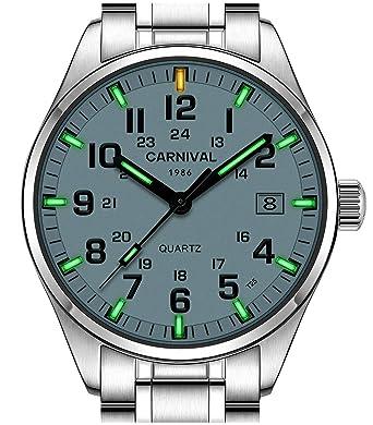 9543dae3394 PASOY Men s Luminous Watch Green Swim Waterproof Sapphire Glass Stainless  Steel Analog Quartz Watches