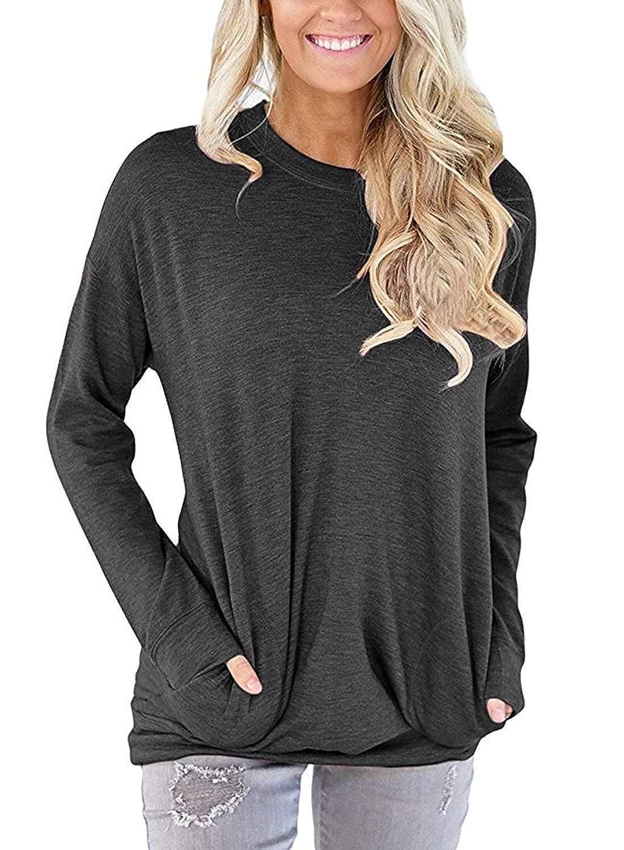 76f6cb9f57e Sherosa Women's Long Sleeve T Shirts Loose Cotton Sweatshirts Round Neck  Fall Tunic Tops at Amazon Women's Clothing store:
