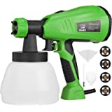 Paint Sprayer, GINOUR 1300ml HVLP Electric Spray Gun with 4 Copper Nozzles, 4 Filter Papers, 3 Spray Patterns, 800ml/min, Flo