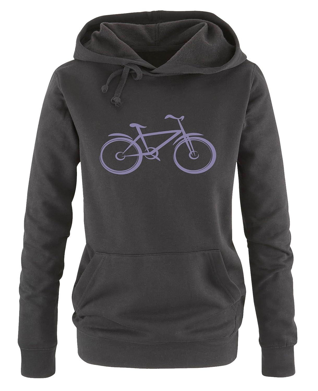 Damen Hoodie Print-Pulli Comedy Shirts Langarm Fahrrad Kapuze K/ängurutasche