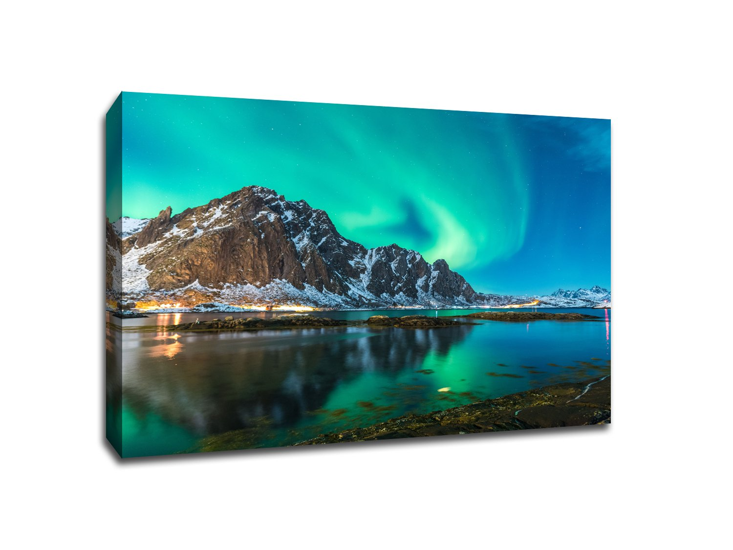 Northern Lights Lake - Water Landscapes - 48x36 Gallery Wrapped Canvas Wall Art