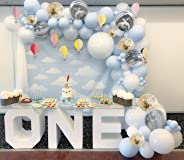PartyWoo Blue White and Gold Balloons, 40 pcs 12 Inch Baby Blue Balloons, White Balloons, White Marble Balloons, Gold Confett