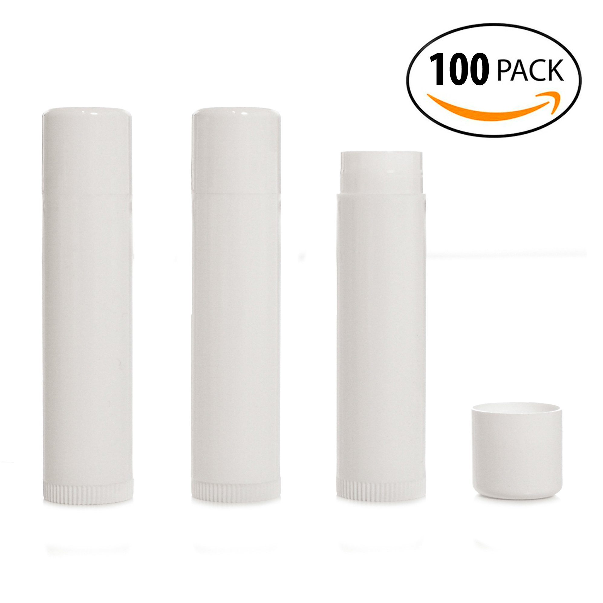 Milliard Empty Lip Balm Tubes, Empty Lip Balm Containers BPA Free - White 100 Count