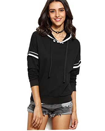 7272d7f6a5 CNFIO Women s Pullover Hoodie Striped Stitching Sweatshirt Casual Tops  Blouse Black M