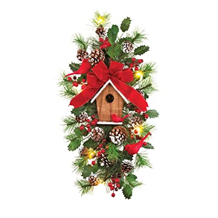 collections etc cardinal birdhouse lighted christmas swag door decoration - Www Collectionsetc Com Christmas