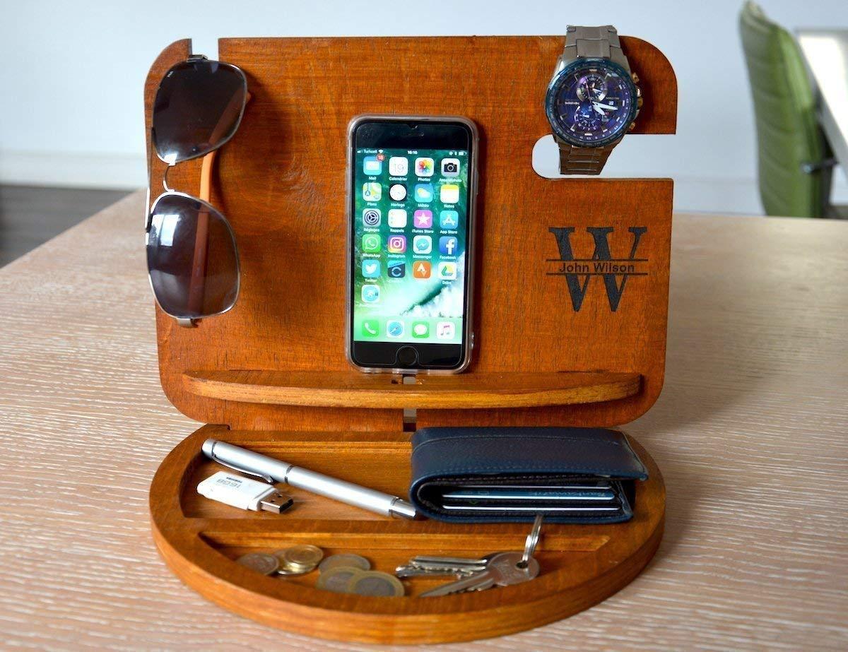Personalized Docking Station,Charging Station,Glasses Holder,Nightstand Valet,Desk Organizer,New Job Gift,Gift for Husband,Men Dock Station