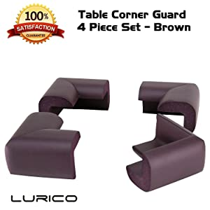 LURICO 4 Pieces Set Corner Protector | Baby Proofing Table Corner Bumper Guard | Child Safety Furniture Fireplace Corner Edge Guards | Soft Foam | Safe Corner Cushion | Pre-Taped | (Coffee Brown)