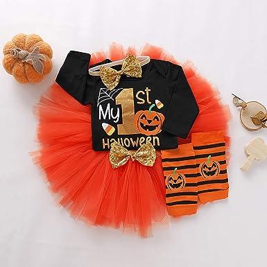4Pcs My First Thanksgiving Outfit Baby Girl Turkey Long Sleeve Romper Tutu Skirt Headband Leg Warmers Set