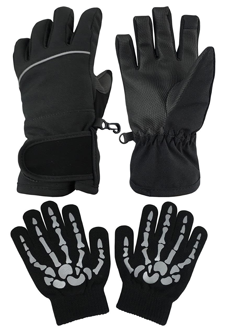 N'Ice Caps Kids 100 Gram Thinsulate Waterproof Lightweight Dry Wicking 2-in-1 Glove Pack