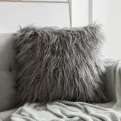 09c2c6180b977 Amazon.com  MIULEE Decorative New Luxury Series Style Grey Faux Fur ...