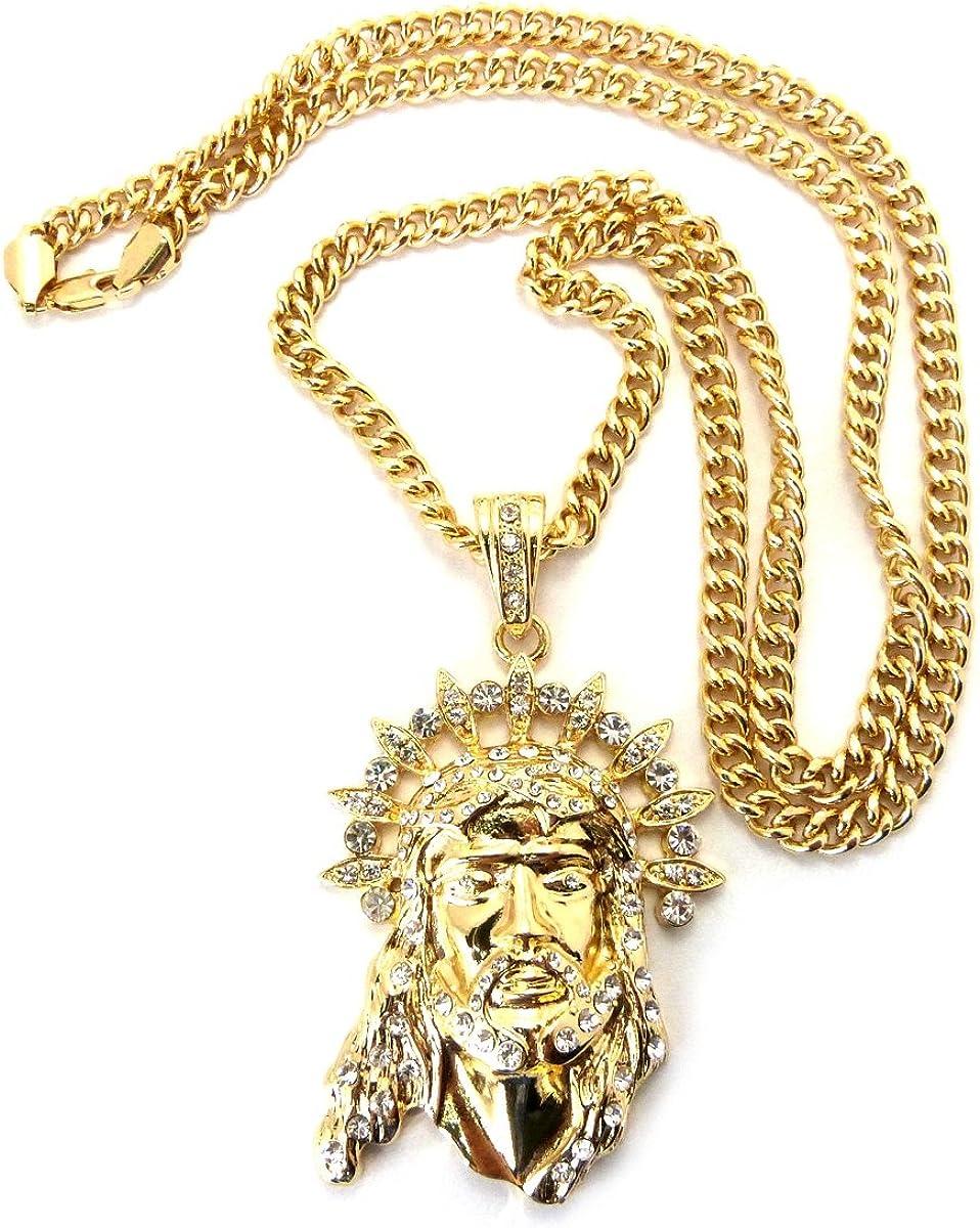 NYFASHION101 Stone Stud Jesus Pendant with 6mm 36 Miami Cuban Chain Necklace