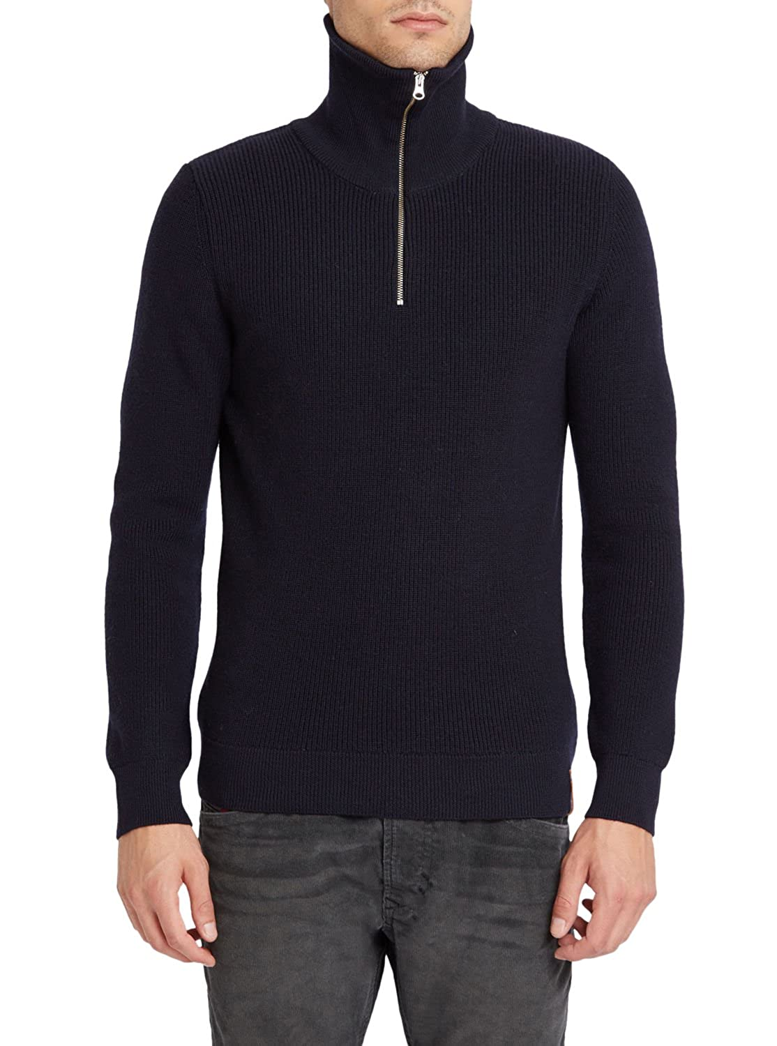 KNOWLEDGE COTTON APPAREL - Zip-neck Sweaters - Men - Navy Rib Stitch Zip Neck Sweater for men
