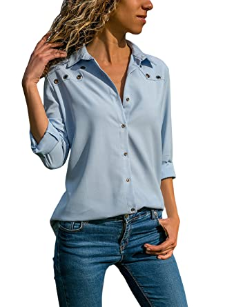 45d6a95fb10 Women s V Neck Long Sleeve Shirts Solid Color Button Down Tops Simple Fit  Tunic Blouses at Amazon Women s Clothing store