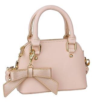21fb46f7d0437 SIX Trend kleine Damen Mini Henkel Tasche rosa Nude mit Abnehmbarer  Goldener Schleife