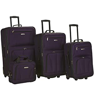 Rockland Luggage 4 Piece Set, Purple, One Size