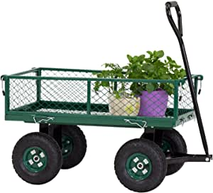 Peach Tree Garden cart with Wheels Utility Yard Wagon with Removable Sides with a Capacity of 650 lb, Green