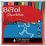 Berol colourbroad 12 fibre tipped colouring pens in assorted colours
