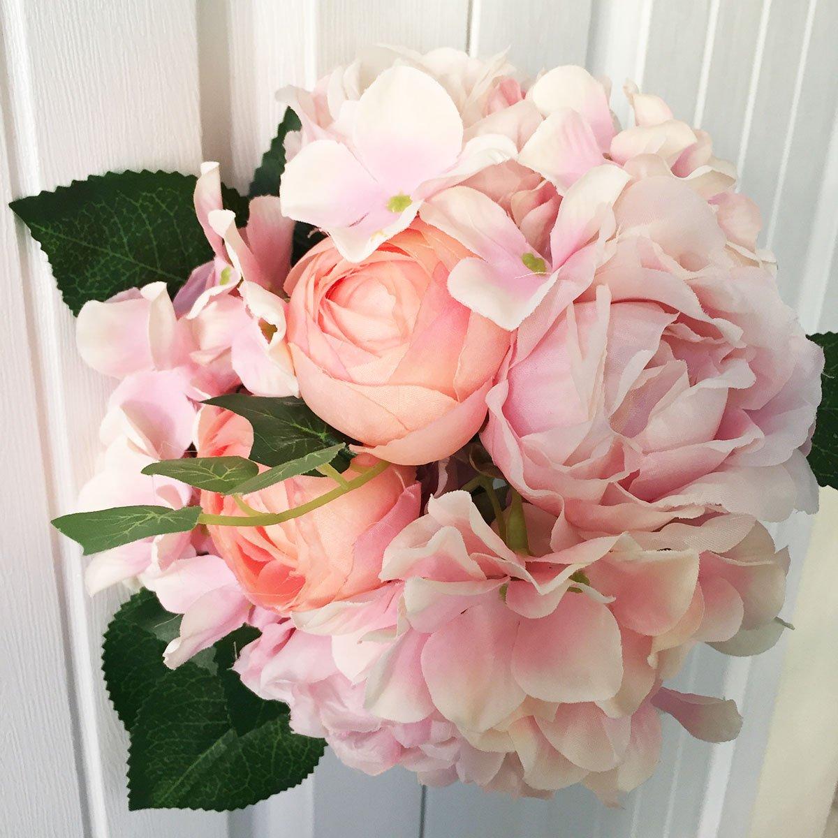 Artfen Artificial Flowers Fake Silk Hydrangea Flower Simulation Hand Tied Bouquet Lu Lotus Bouquet for Home Hotel Office Wedding Party Garden Craft Art Decor Approx 8.5 in Diameter Pink 2