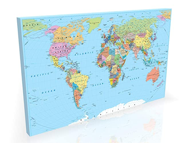 England On Map Of World.Political World Map Large 36x24 Inch Box Canvas Beautifully Handmade In England