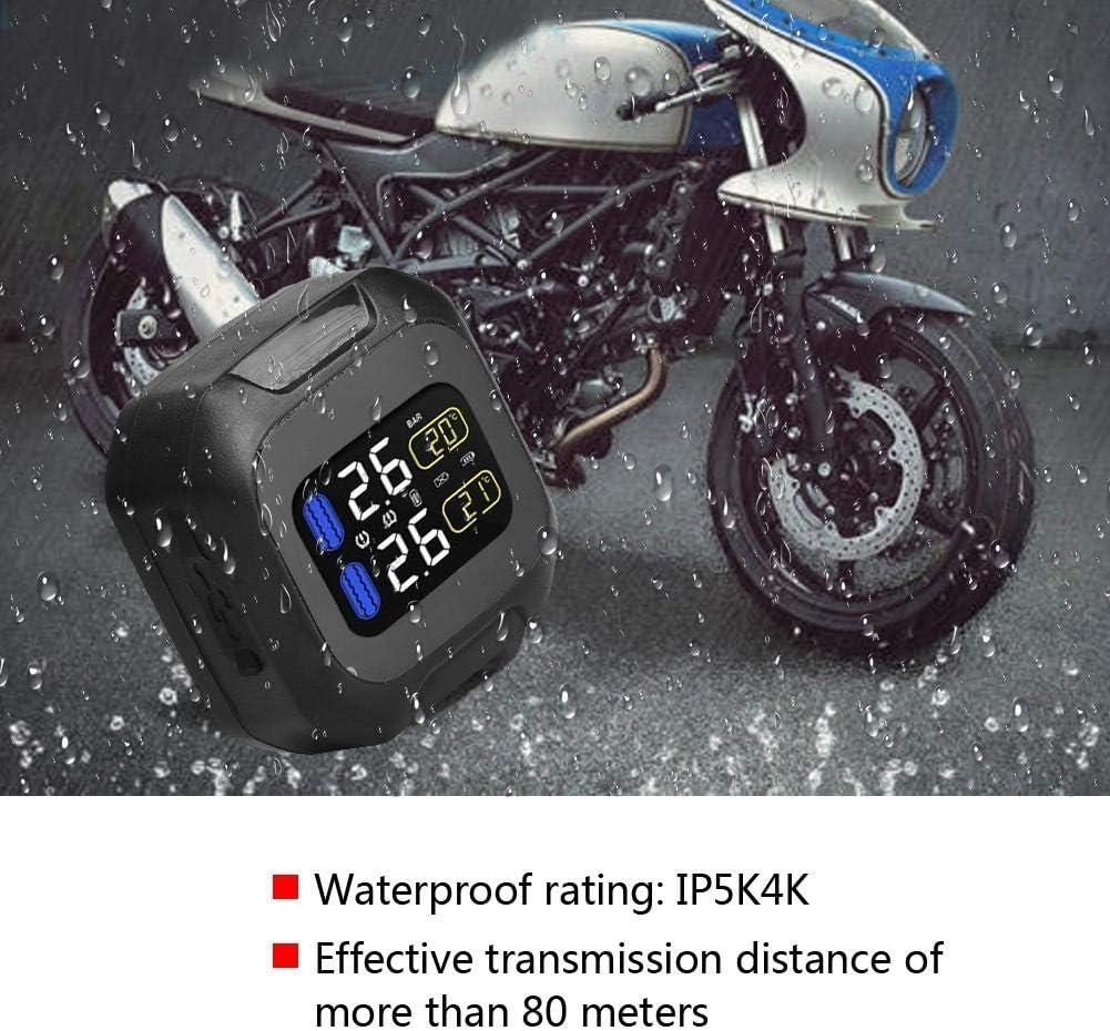 EBTOOLS TPMS inal/ámbrico para motocicleta sistema de monitor de presi/ón de neum/áticos TPMS a prueba de agua con 2 sensores externos