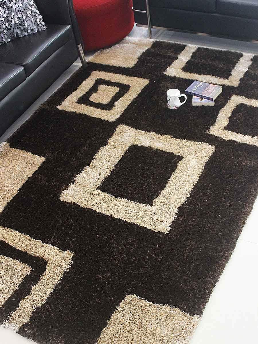 Rugsotic Carpets Hand Tufted Shag Polyester 9 x12 Area Rug Geometric Brown Beige K00001