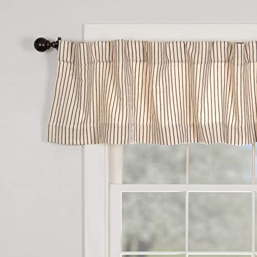 Piper Classics Katie s Vintage Stripe Valance Curtain, 72 Wide x 16 Long, Urban Rustic Farmhouse Boho Style Kitchen or Bath Curtain, Natural Cream w Black Stripes