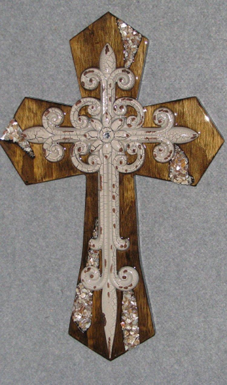 decorative wall cross, crackle Fleur-de-lis, handmade, wooden, one of a kind