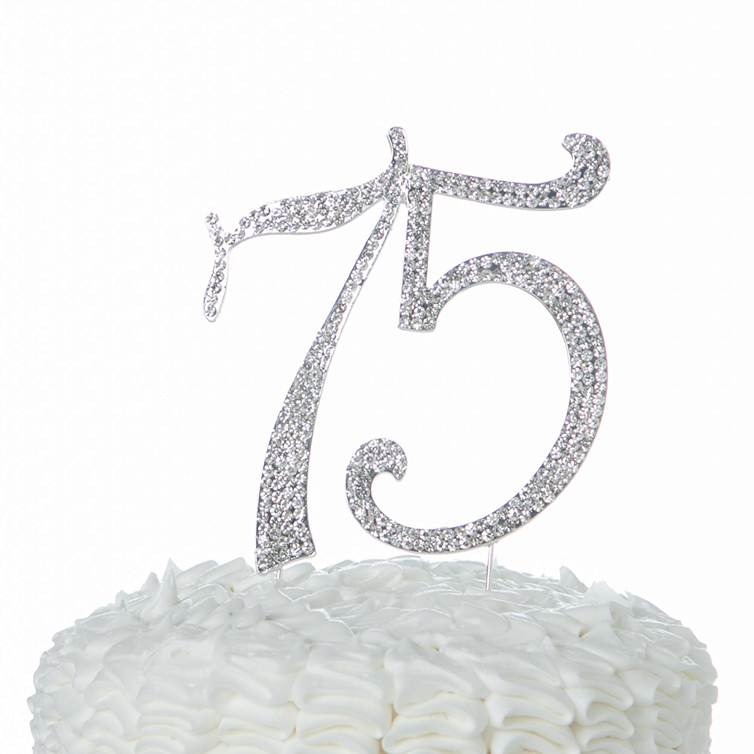 Amazon Ella Celebration 75 Cake Topper For 75th Birthday Or Anniversary Party Crystal Rhinestone Number Decoration Silver Kitchen Dining