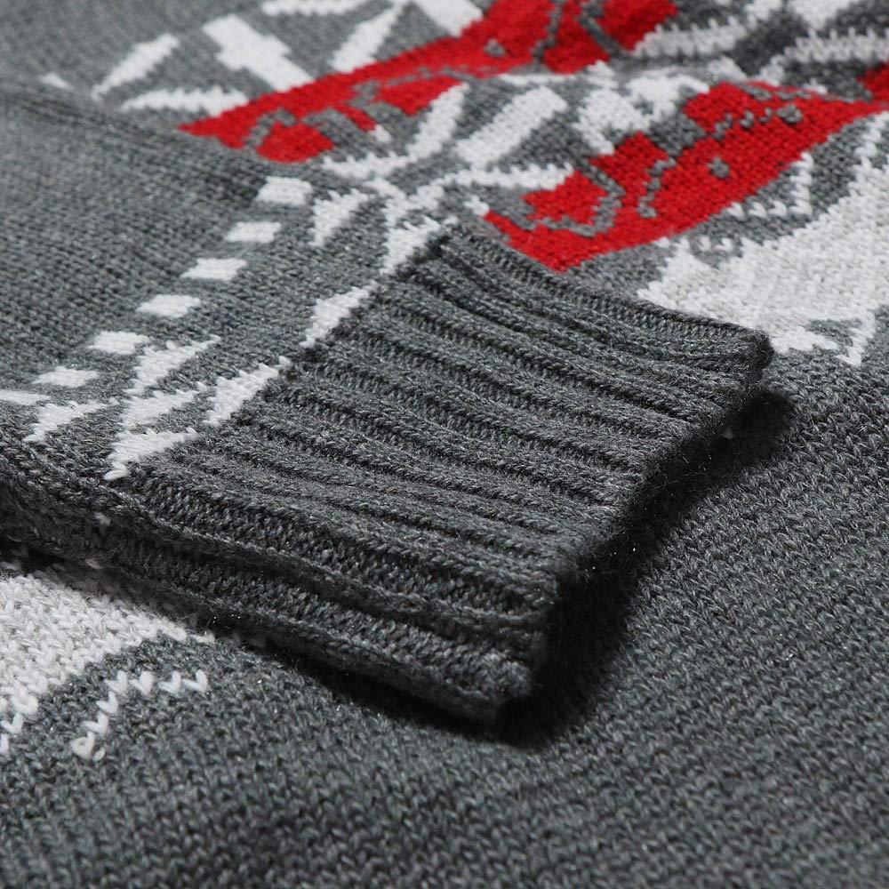 Kimloog Mens Long Sleeve Crewneck Print Knit Sweater Pullover Winter Warm Slim Sweatshirt