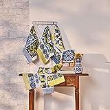 Jogo de 6 unidades - pano de copa atoalhado sintra – azul português e amarelo - lepper