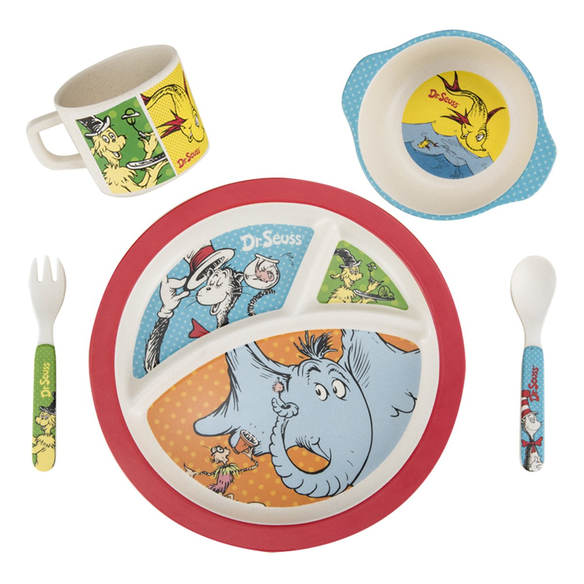 Amazon.com Vandor 17004 Dr. Seuss 5 Piece Bamboo Dinnerware Set Multicolored Kitchen \u0026 Dining  sc 1 st  Amazon.com : bamboo dinnerware - pezcame.com