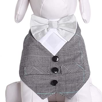 983d641fc92c Tail Trends Formal Dog Tuxedo Vest Dog Bandana with White Bow Tie and Grey  Vest for