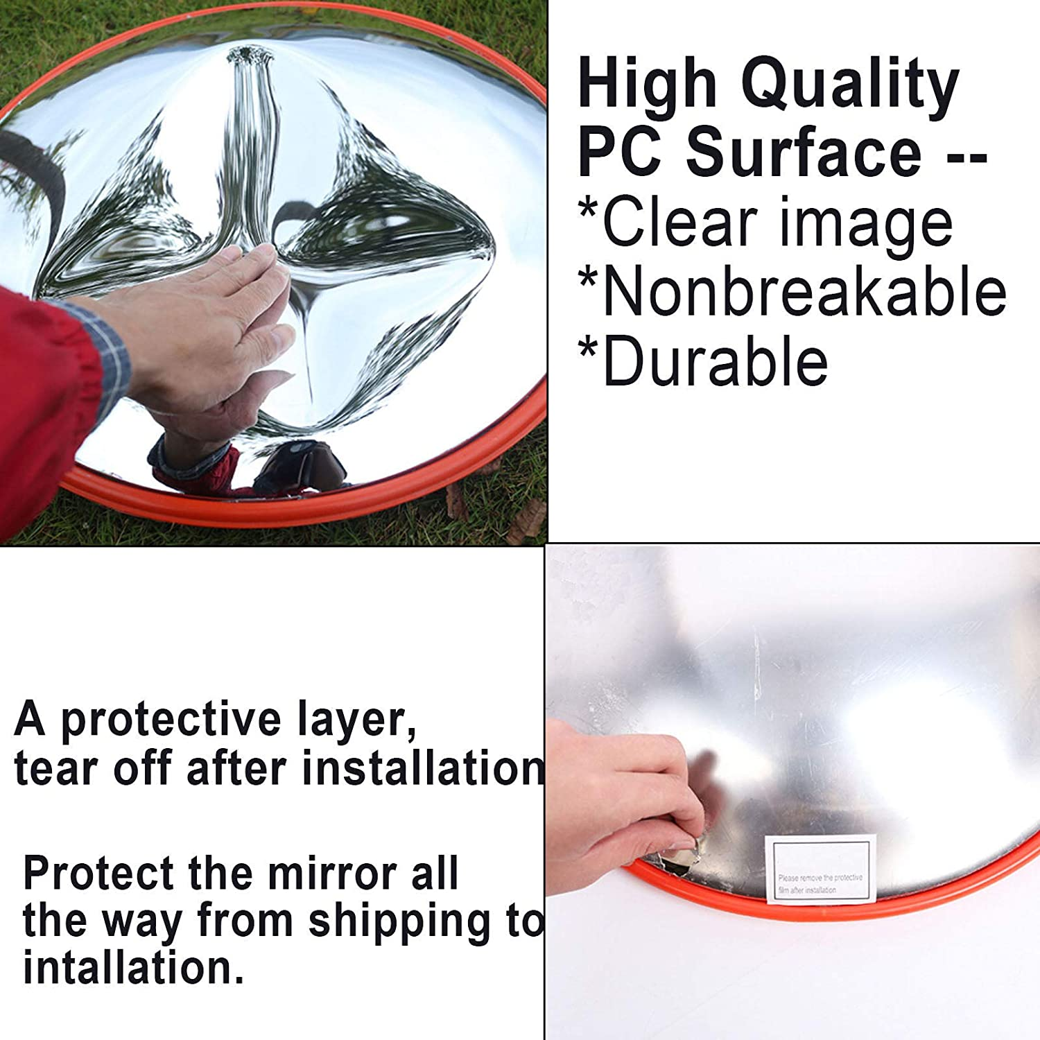 24 Convex Traffic mirror For Road Safety And Shop Security With Adjustable Fixing Bracket Diameter 60cm