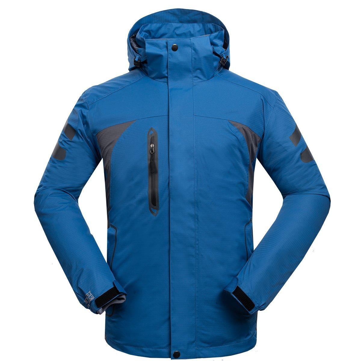 Emansmoer Herren 3 in 1 Winddicht Kapuzen Wasserdicht Atmungsaktiv Sport Outdoor Jacke Camping Wandern Trekking Mantel